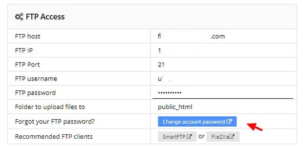 change FTP password
