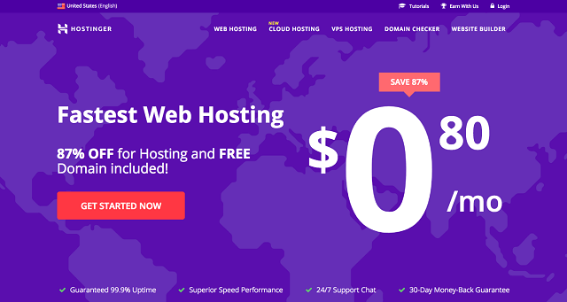 Hostinger cheapest hosting package with free domain