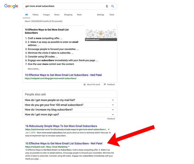 featured snippets and double listing