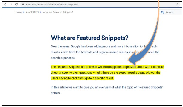 featured snippet 2